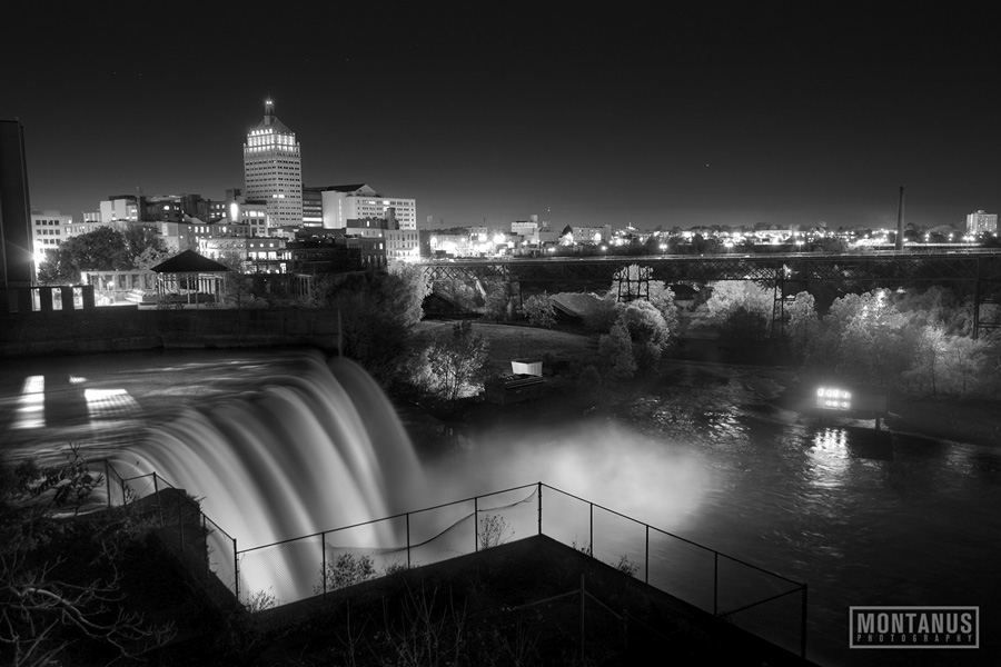 Freddie sue bridge in downtown rochester new york with machinery in foreground