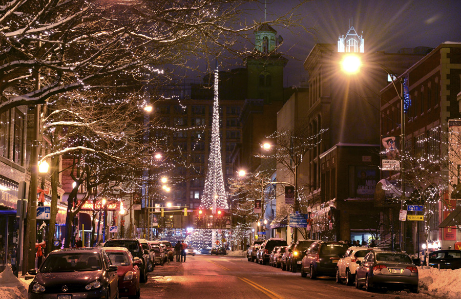 The Liberty Pole in downtown Rochester decorated for the holidays as viewed from East Avenue and Broadway